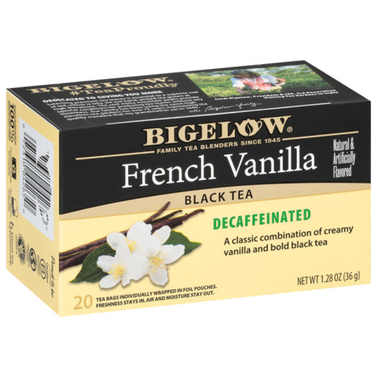 French Vanilla Decaf Tea - Case of 6 boxes- total of 120 teabags
