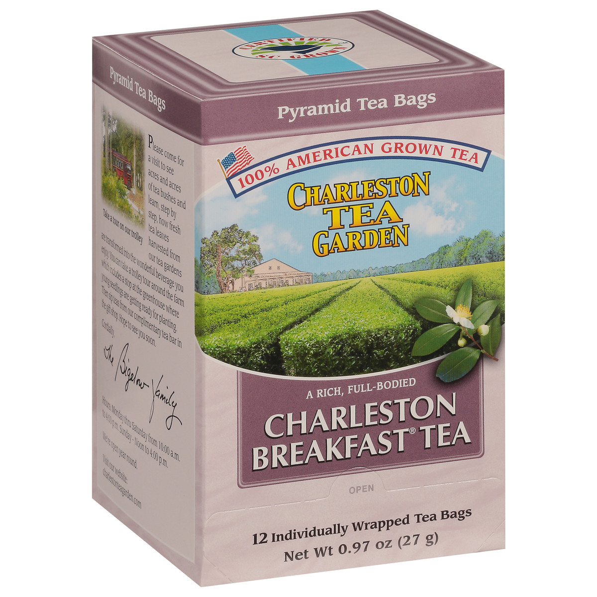 Charleston Breakfast Pyramid Bags - Case of 6 boxes- total of 72 teabags