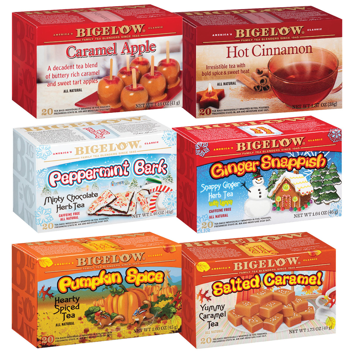Mixed Case of 6 Bigelow Seasonal Teas - Case of 6 boxes - total of 120 teabags