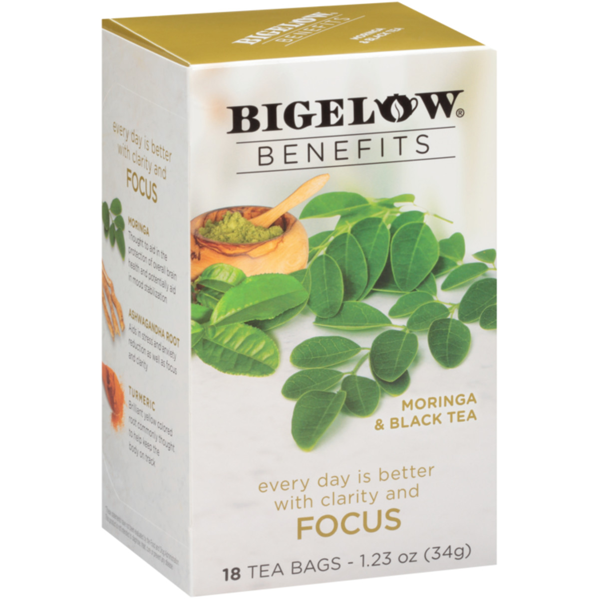 Bigelow Benefits Moringa and Black Tea - Case of 6 boxes - total of 108 teabags