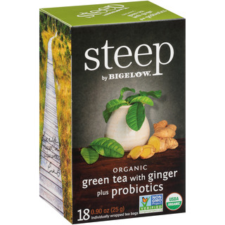 green tea with ginger plus probiotics - case of 6 boxes - total of 108 tea bags
