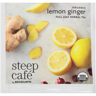 steep Café Organic Lemon Ginger Herbal Tea - Box of 50 pyramid tea bags