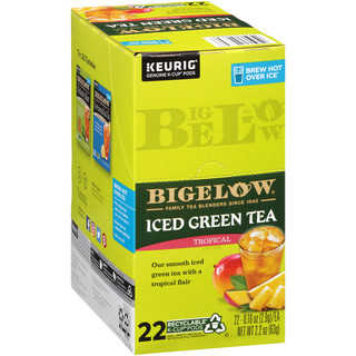 Bigelow Tropical Iced Green Tea Brew Over Ice K-Cup® pods- Case of 4 boxes total of 88 K-Cup® pods