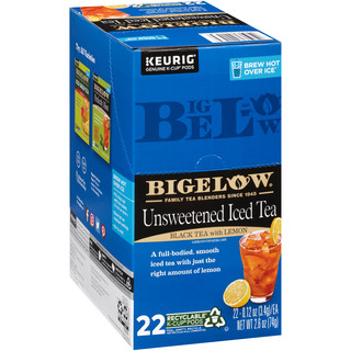 Bigelow Unsweetened Black Iced Tea with Lemon Brew Over Ice K-Cup® pods-Case of 4 boxes Total of 88 K-Cup® pods