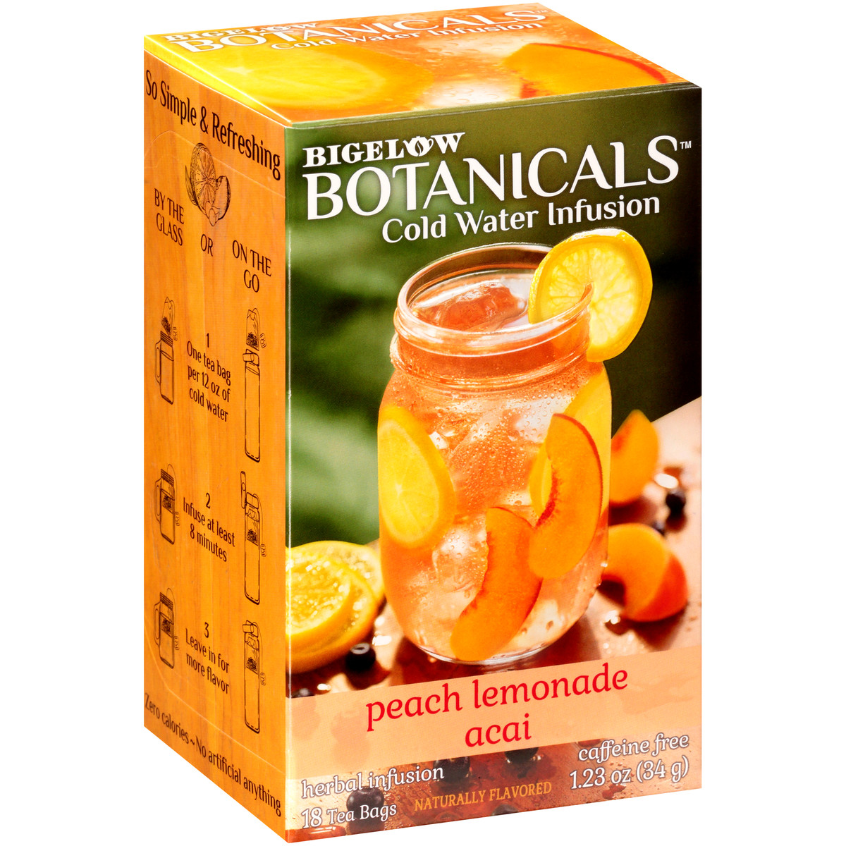 Peach Lemonade Acai Cold Water Infusion Caffeine Free 108 TB (case of 6 boxes)